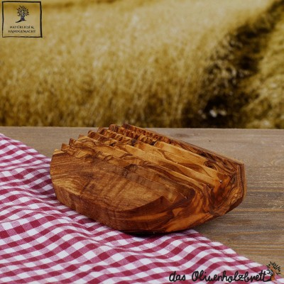 Seifenablage aus Olivenholz geriffelt , oval