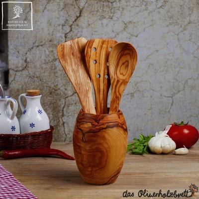 Köcher in bauchiger Form aus Olivenholz