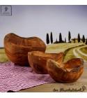 Bol Bois d'olivier, forme artistique, aux bords en écorces d'olivier