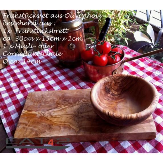 Service de pièces en bois d'olivier pour petit déjeuner