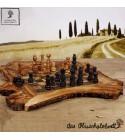 Magnifique échiquier plate en bois d'olivier (pièces inclues)