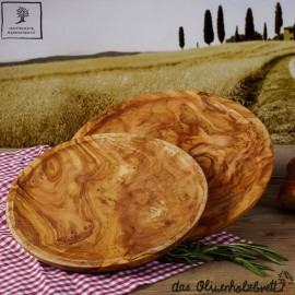 Assiette Bois d'olivier, rond, bien-fini à la main