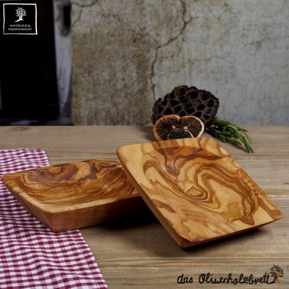 Bol en bois d'olivier, forme carrée,