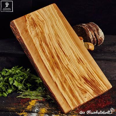 Planche à découper en bois d'olivier, grand, rectangulaire un côté naturel