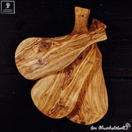 Planche à découper, en bois d'olivier, forme naturelle, avec manche