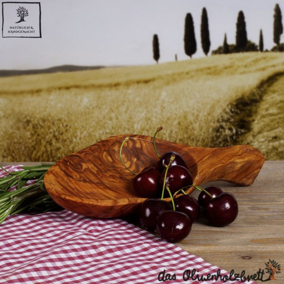 Bol en bois d'olivier, forme naturelle, avec manche