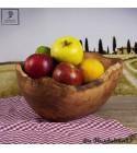 ovale Salat- und Obstschale mit rustikalem Rand