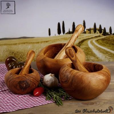 Mortier avec pilon en bois d'olivier