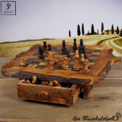 Magnifique échiquier avec tiroir en bois d'olivier